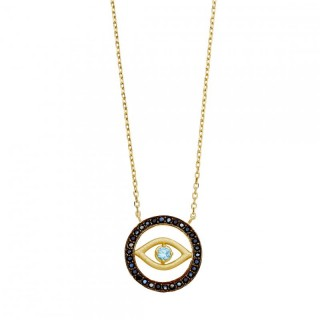 evil eye necklace blue cz eye and black cz circle pendant