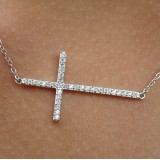 horizontal sideways cz cross pendant chain necklace in 925 sterling silver