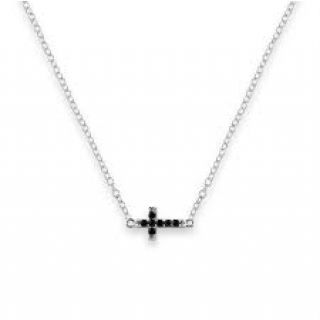 cross cz black mini sideways pendant necklace 925 sterling