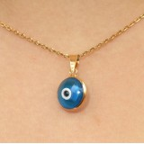 evil eye blue turquoise necklace plain 925 sterling silver or gold