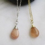 pink opal necklace in silver or gold plated 925 sterling silver