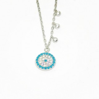 evil eye necklace with three 3 cz drops blue turquoise or sapphire blue 925 sterling silver