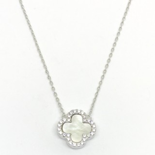 necklace 4 four leaf cz clover cross mother of pearl, evil eye, blue or black 925 sterling silver