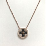 cross square circle black cz pave necklace 925 sterling silver rose gold