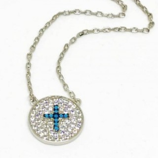 cross necklace circle cz nano turquoise blue 925 sterling silver