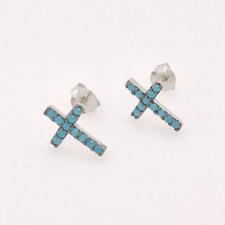 cross earring studs nano turquoise blue 925 sterling silver