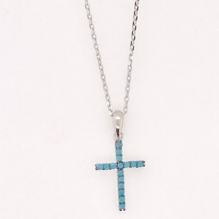 cross necklace pendant nano turquoise blue 925 sterling silver