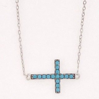 cross necklace sideways style nano turquoise blue 925 sterling silver