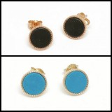 earring studs circle in turquoise blue or black rose gold 925 sterling silver