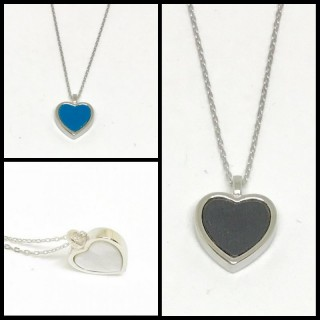 heart necklace in blue or black with reverse side in mother of pearl mop 925 sterling silver