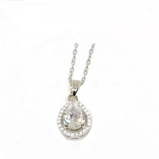 necklace cz pear or tear drop 925 sterling silver