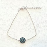 evil eye bracelet with blue and black cz in 925 sterling silver