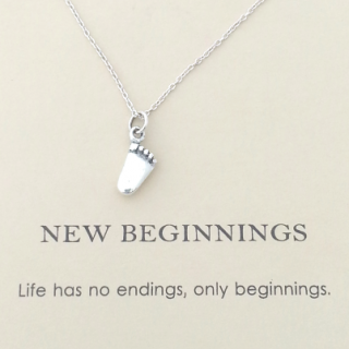 word necklace new beginnings baby foot pendant 925 sterling silver