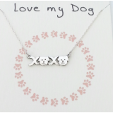 word necklace love my dog paw print pendant 925 sterling silver