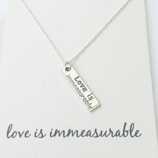 word necklace love is immeasurable bar 925 sterling silver
