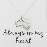 word necklace Australia map heart 925 sterling silver