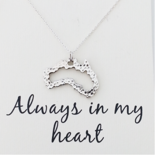 Australia Word Map.Word Necklace Australia Map Heart 925 Sterling Silver
