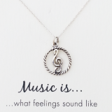 word necklace music is pendant treble cleff 925 sterling silver