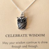 word necklace wisdom owl pendant 925 sterling silver