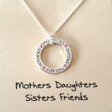 word necklace mothers daughters sisters friends pendant 925 sterling silver