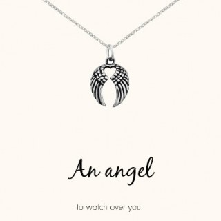 word necklace angel wings and heart 925 sterling silver