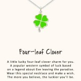 word necklace four leaf clover 925 sterling silver